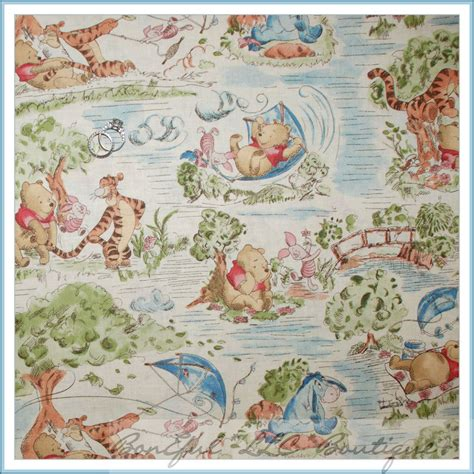 Winnie The Pooh Quilting Fabric by Boneful Fabric Fq Cotton Quilt Vtg Winnie The Pooh Park