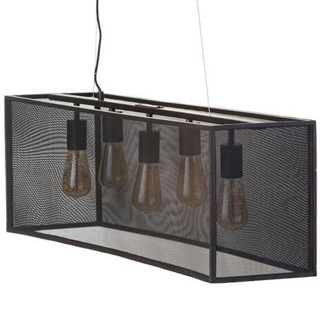 Large Pendant Lights 5 Light Industrial Diner Mesh Bar Ceiling Pendant Black