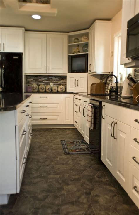 White Kitchen Black Appliances Unit 43 Pinterest White Kitchen Cabinets With Black Appliances