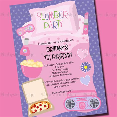 slumber party invitations templates free cimvitation