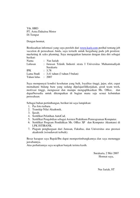 Cv Lamaran Kerja Docx by 7 Contoh Surat Lamaran Kerja Lengkap Ben
