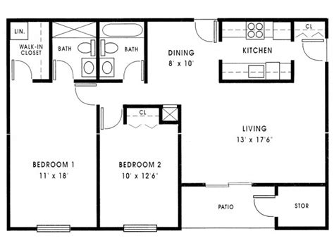Floor Plan For 2 Bedroom House by Small 2 Bedroom House Plans 1000 Sq Ft Small 2 Bedroom