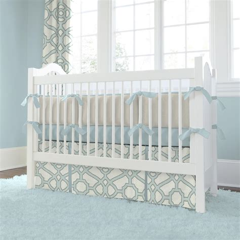 Spa And Gray Fretwork Crib Bedding Carousel Designs Baby Bedding Crib Sets
