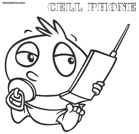 cell phone coloring page coloring home