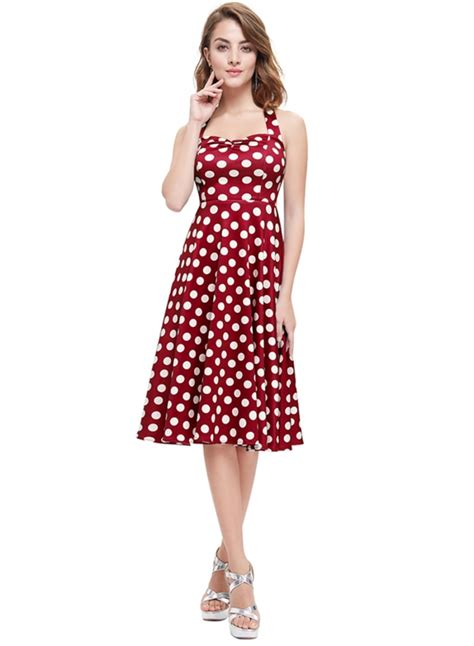 halter neck swing dress vintage halter neck sleeveless polka dot swing dress
