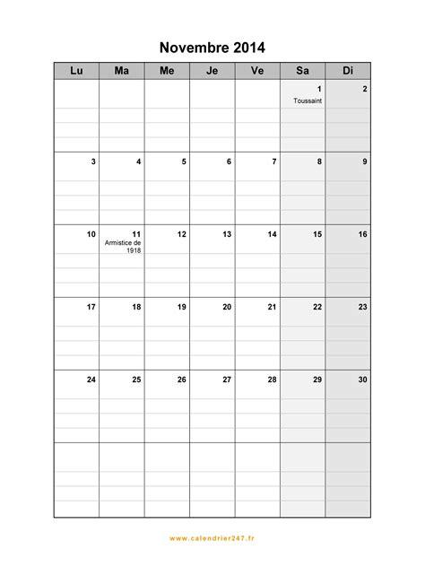 Calendrier Novembre 2014 à imprimer gratuit en PDF et Excel