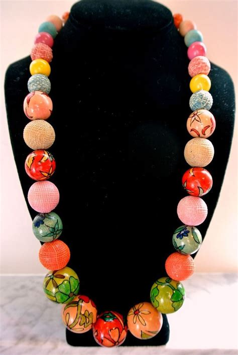 how to make fabric jewelry vintage painted wooden fabric covered bead necklace
