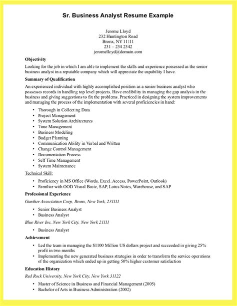 Exle Of A Business Resume by Business Analyst Resume Skill Writing Resume Sle Writing Resume Sle