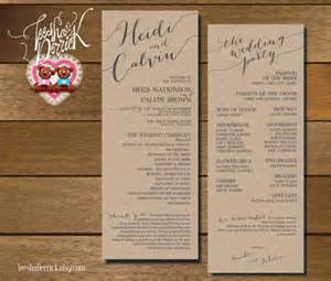 order wedding ceremony program printable wedding program and ceremony order in custom design and typography theme w0175