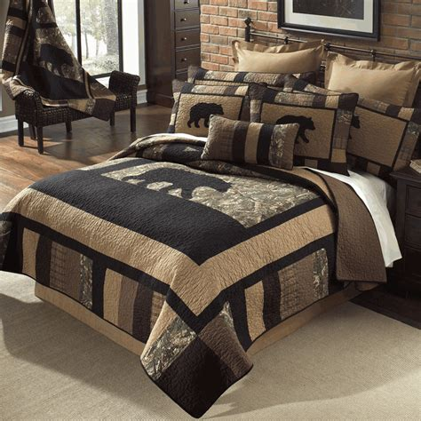 Moose Themed Home Decor by Camo Bear Quilt Bedding Collection