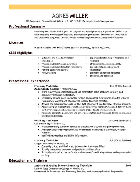 pharmacy technician resume exles sle