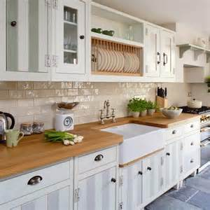yes white cabinets wood worktop grey floor tiles just