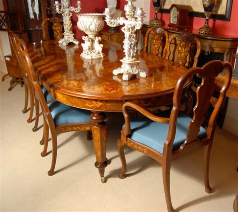 8 foot italian marquetry dining table 8 chairs
