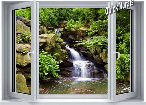 canvas wall murals mountain waterfall window one peel stick canvas wall mural themuralstore