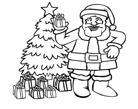 santa christmas tree coloring page christmas tree coloring pages
