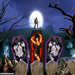 elvira in a coffin pictures