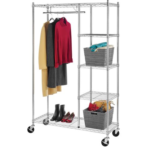 whitmor rolling garment rack with shelves chrome finish