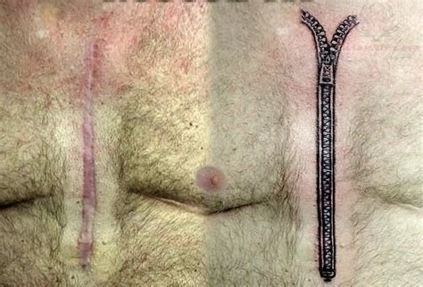 zipper tattoo on chest grey ink zipper tattoo on chest