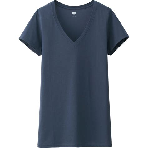 Navy Vneck Sleeve Tshirt Cotton uniqlo supima cotton washed v neck sleeve t shirt in blue navy lyst