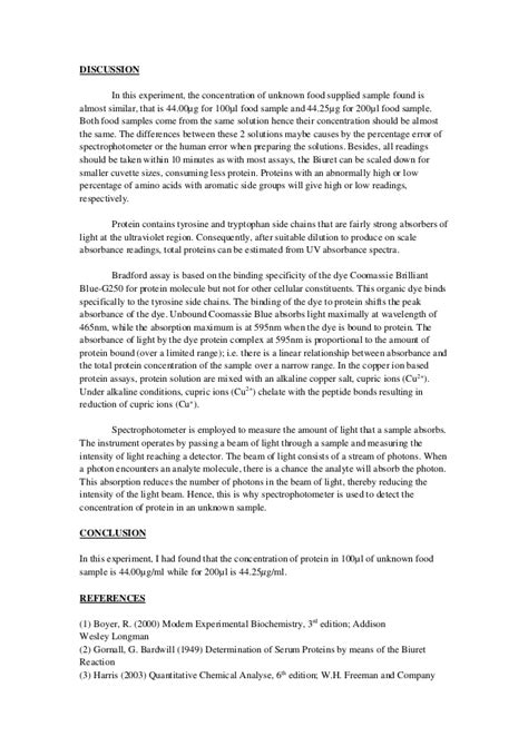 protein lab test testing proteins with biurets reagent essay report898
