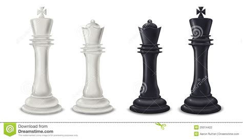 king and queen chess pieces digital illustration stock