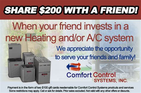 comfort control heating and air conditioning comfort control systems referral programs in green bay wi