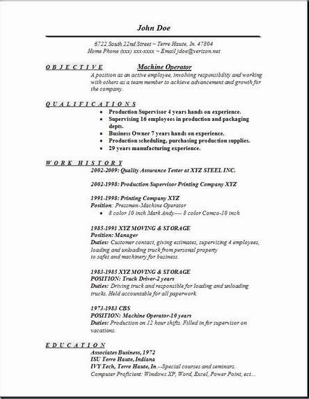 resume format for operator machine operator resume occupational exles sles free edit with word