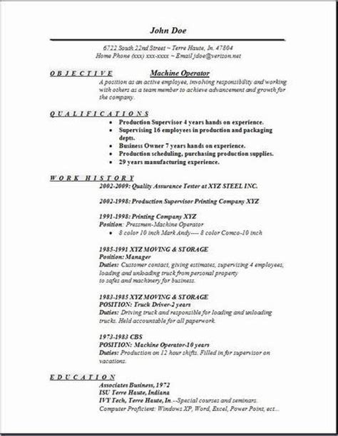 Free Sle Resume Machine Operator Machine Operator Resume Occupational Exles Sles Free Edit With Word