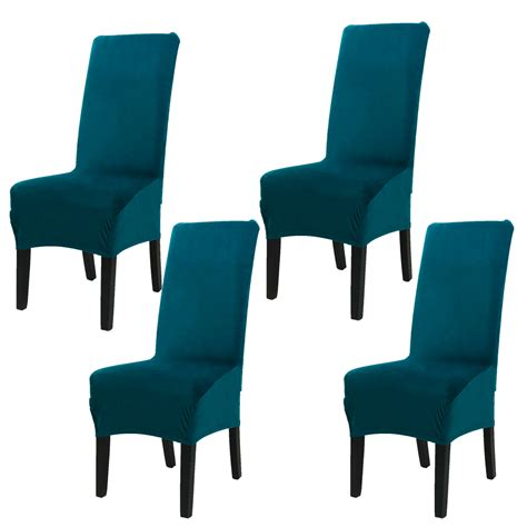 velvet spandex stretch dining room chair seat covers set