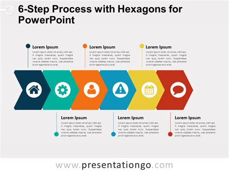process template powerpoint 6 step process with hexagons for powerpoint