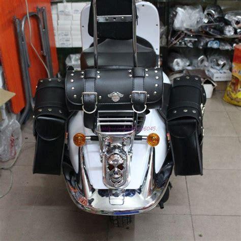 Harley Davidson 6639 3time Black Leather 1 3 bag set quality black leather motorcycle saddle bag multifunction side luggage pouch