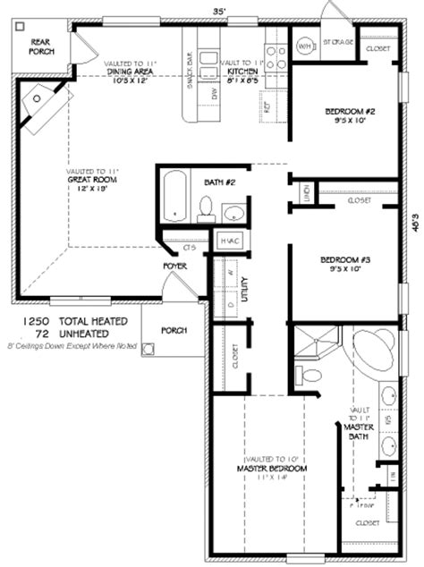 1250 Sq Ft House Plans Traditional Style House Plan 3 Beds 2 00 Baths 1250 Sq Ft Plan 424 245