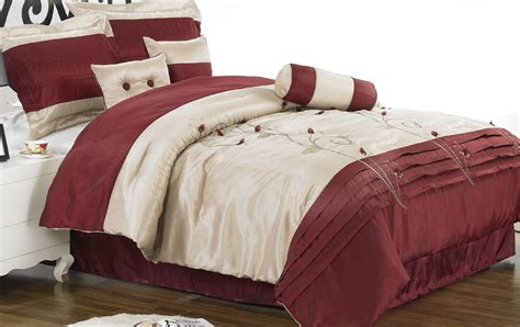 7pcs king burgundy applique embroidered comforter set