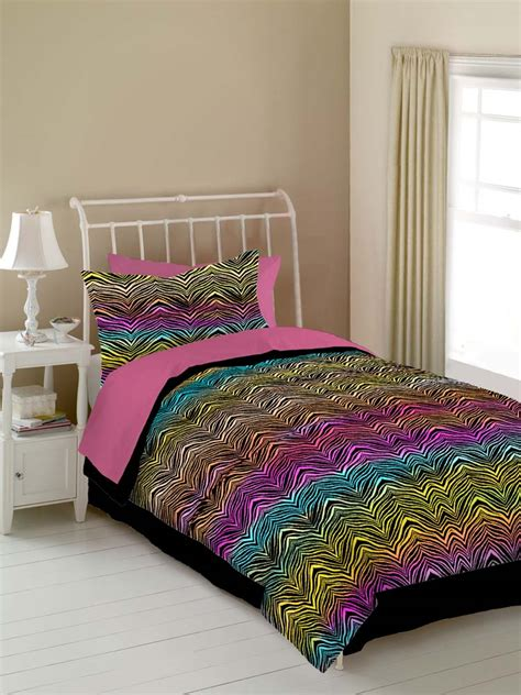 rainbow zebra 4 pc full comforter set rainbow