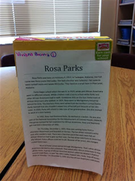 rosa parks book report simply elementary biography cereal box project