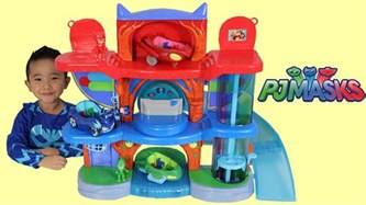 pj masks headquarters playset toys unboxing playing catboy gekko owlette ckn toys