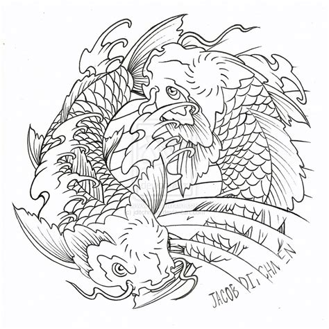 drawn koi carp coloring page pencil and in color drawn
