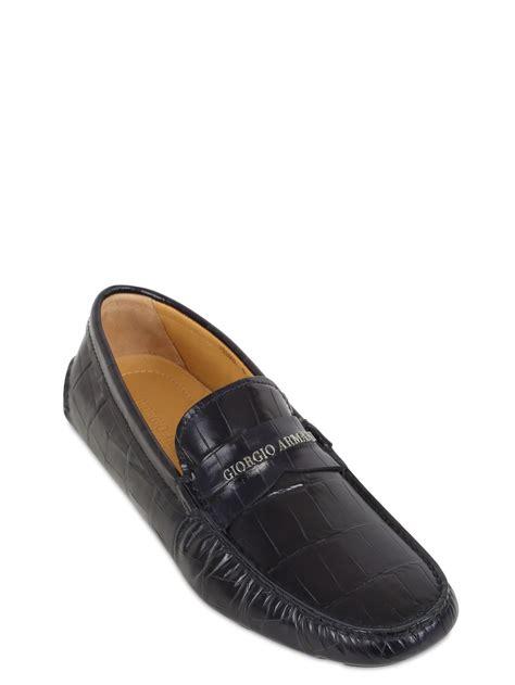 armani loafers for giorgio armani signature mock croc leather loafers in blue