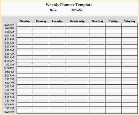 weekly hourly planner template the gallery for gt weekly schedule template 15 minute