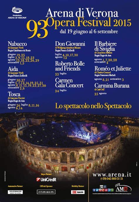 Calendario Arena 2015 Programma Arena Verona 2015