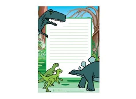 lined paper with dinosaur border colourful dinosaurs