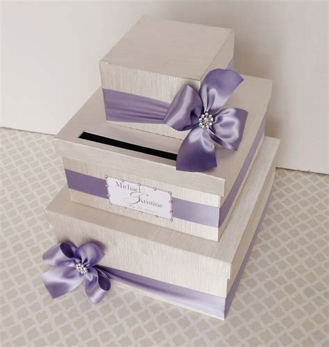 wedding card holder custom made wedding card box money holder purple wisteria