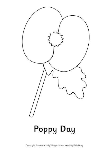 poppy template to colour poppy day colouring page
