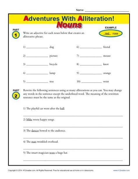 Alliteration Worksheet by Alliteration And Nouns Figurative Language Worksheets