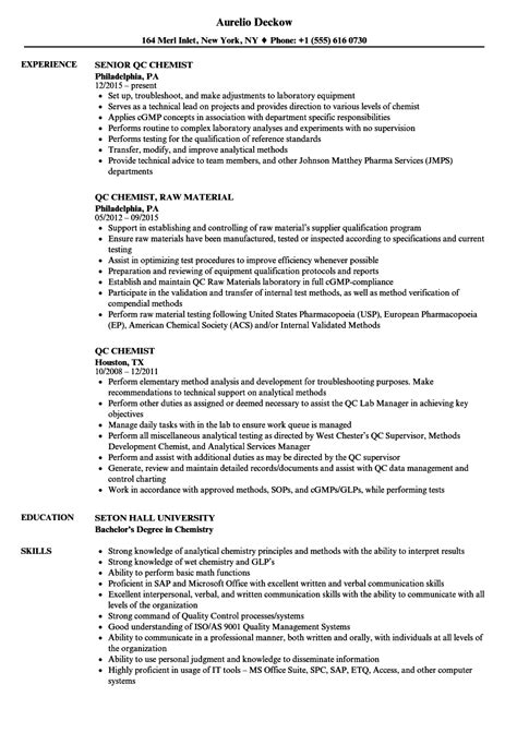 Qc Chemist by Qa Qc Resume Sle Weather Clerk Cover Letter