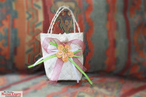 Native Wedding Giveaways - customized native buri bags mini palm leaf bag for giveaways and souvenirs