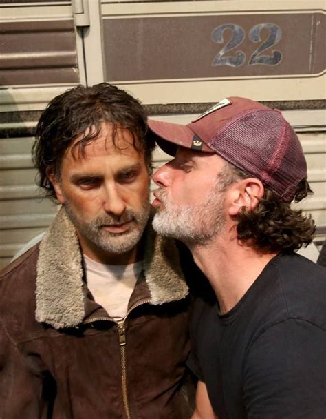 andrew lincoln character actor andrew lincoln poses with a wax figure of his