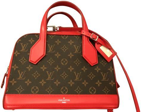 louis vuitton brown monogram red leather bag canvas dora