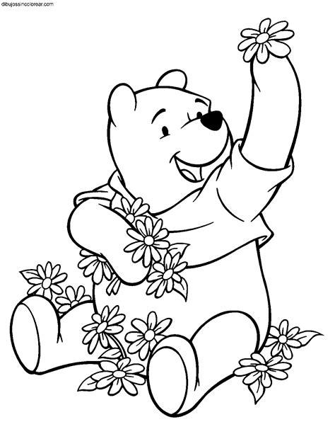 imagenes de winnie pooh con flores dibujos de winnie the pooh para colorear