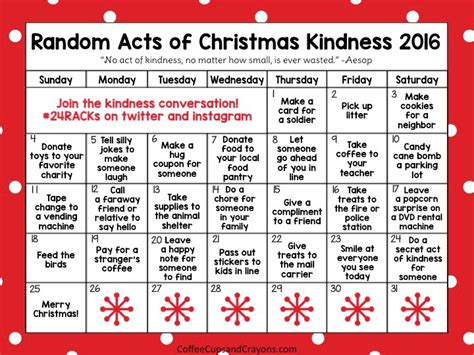 printable acts of kindness advent calendar random acts of christmas kindness advent calendar coffee